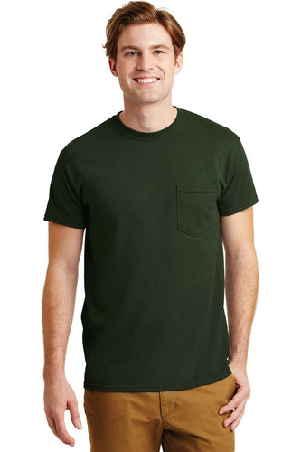 gildan dryblend cotton poly pocket t shirt 8300 forest green