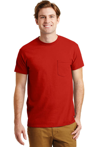 gildan dryblend cotton poly pocket t shirt 8300 red