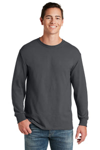 jerzees dri-power 50/50 cotton/poly long sleeve t-shirt 29ls charcoal grey