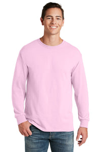 jerzees dri-power 50/50 cotton/poly long sleeve t-shirt 29ls classic pink