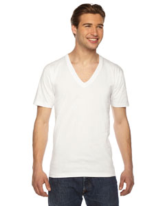 American Apparel Unisex USA Made Fine Jersey Short-Sleeve V-Neck T-Shirt 2456 WHITE