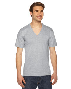 American Apparel Unisex USA Made Fine Jersey Short-Sleeve V-Neck T-Shirt 2456 HEATHER GREY