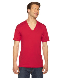 American Apparel Unisex USA Made Fine Jersey Short-Sleeve V-Neck T-Shirt 2456 RED