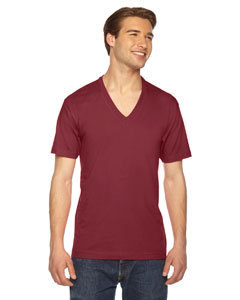 American Apparel Unisex USA Made Fine Jersey Short-Sleeve V-Neck T-Shirt 2456 CRANBERRY