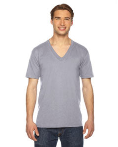 American Apparel Unisex USA Made Fine Jersey Short-Sleeve V-Neck T-Shirt 2456 SLATE