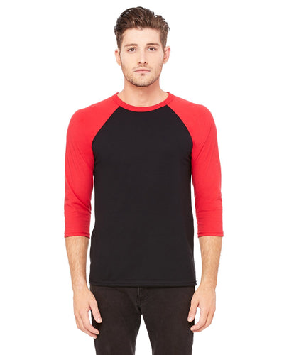 bella + canvas unisex 3/4-sleeve baseball t-shirt 3200 black/ red