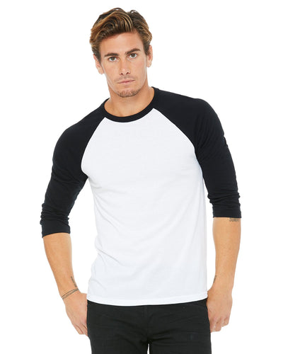 bella + canvas unisex 3/4-sleeve baseball t-shirt 3200 white/ black