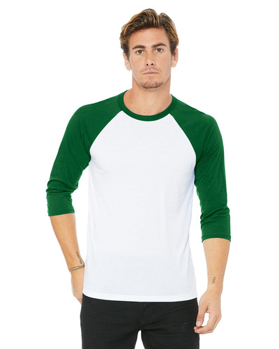 bella + canvas unisex 3/4-sleeve baseball t-shirt 3200 white/ kelly