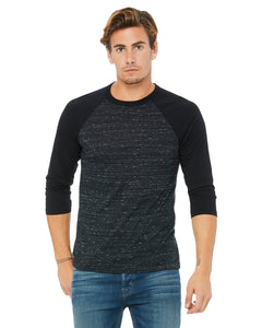 bella + canvas unisex 3/4-sleeve baseball t-shirt 3200 blck mrble/ blck