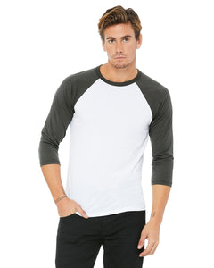 bella + canvas unisex 3/4-sleeve baseball t-shirt 3200 white/ asphalt