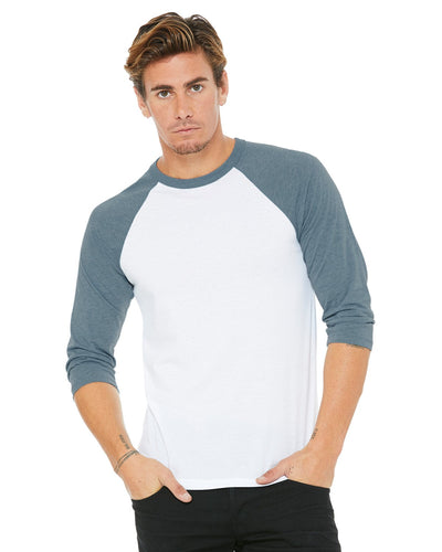 bella + canvas unisex 3/4-sleeve baseball t-shirt 3200 white/ denim