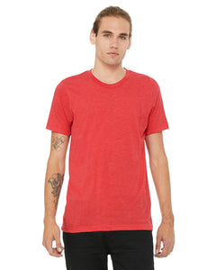 bella + canvas unisex triblend short sleeve t-shirt 3413c red triblend