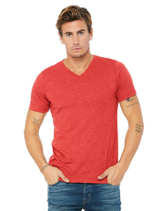bella + canvas unisex triblend short sleeve v-neck t-shirt 3415c red triblend