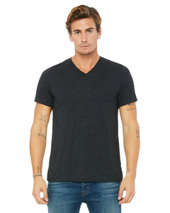 bella + canvas unisex triblend short sleeve v-neck t-shirt 3415c char-black trib