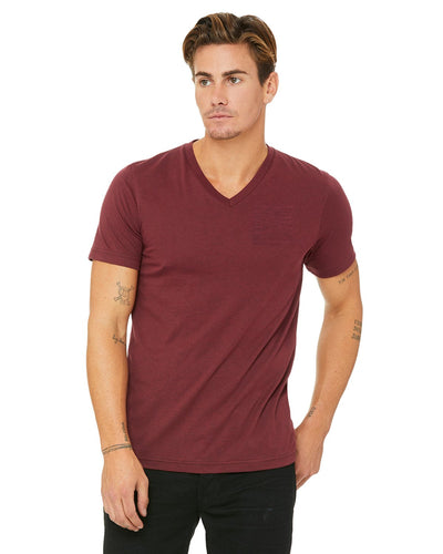 bella + canvas unisex triblend short sleeve v-neck t-shirt 3415c cardinal triblnd