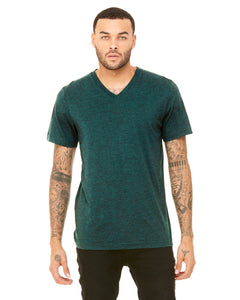 bella + canvas unisex triblend short sleeve v-neck t-shirt 3415c emerald triblend