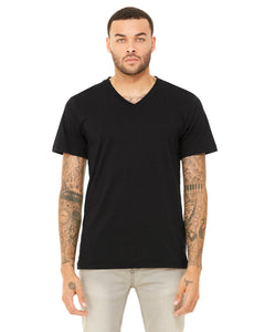 bella + canvas unisex triblend short sleeve v-neck t-shirt 3415c blk hthr triblnd
