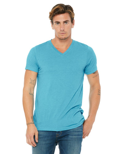 bella + canvas unisex triblend short sleeve v-neck t-shirt 3415c aqua triblend