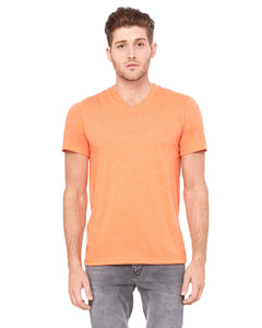 bella + canvas unisex triblend short sleeve v-neck t-shirt 3415c orange triblend