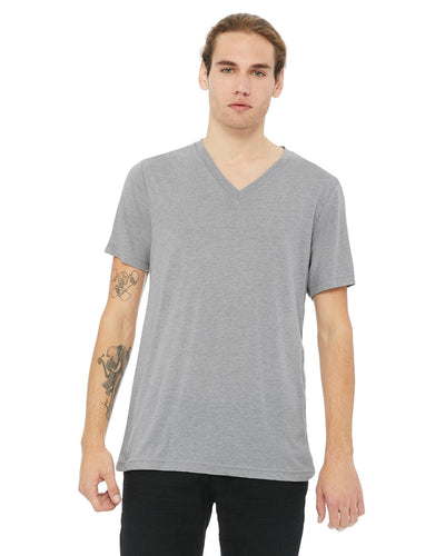 bella + canvas unisex triblend short sleeve v-neck t-shirt 3415c ath grey trbln