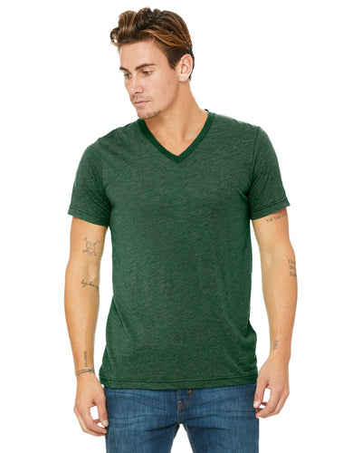 bella + canvas unisex triblend short sleeve v-neck t-shirt 3415c grass grn trblnd