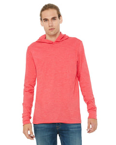 bella + canvas unisex jersey long sleeve hoodie 3512 heather red