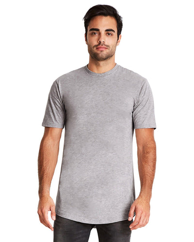 Next Level Mens Cotton Long Body Crew 3602 Heather Gray