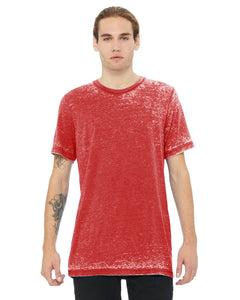 bella + canvas unisex poly-cotton short sleeve t-shirt 3650 red acid wash