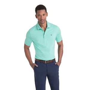 Vineyard Vines Men's Heathered Wilson Stripe Sankaty Performance Polo 1K2202 Antigua Green