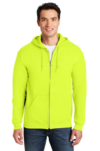 Gildan Safety Green 18600 sweatshirts with logo embroidery