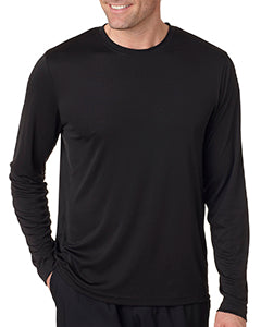 Hanes Men's Cool DRI  with FreshIQ Long Sleeve Performance T-Shirt 482L BLACK
