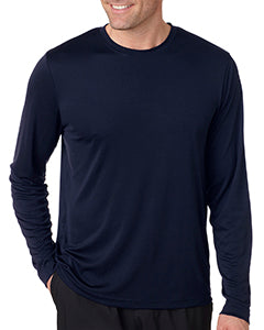 Hanes Men's Cool DRI  with FreshIQ Long Sleeve Performance T-Shirt 482L NAVY