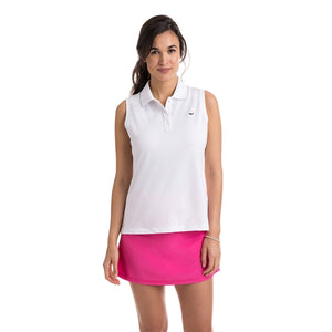 Vineyard Vines Women's Sleeveless Performance Pique Polo 2K1355 White Cap