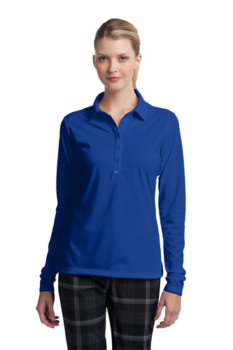 nike ladies long sleeve dri fit stretch tech polo blue sapphire