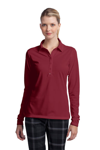 nike ladies long sleeve dri fit stretch tech polo varsity red
