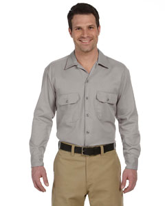 dickies_574_silver gray_company_logo_button downs