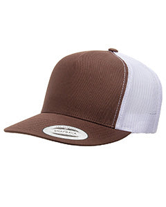 Yupoong Adult 5 -Panel Classic Trucker Cap 6006 BROWN/ WHITE
