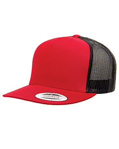 Yupoong Adult 5 -Panel Classic Trucker Cap 6006 RED/ BLACK