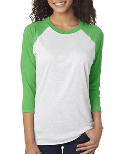Next Level Unisex Triblend 3/4 Sleeve Raglan 6051 ENVY/ HTHR WHT