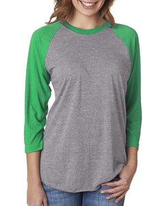 Next Level Unisex Triblend 3/4 Sleeve Raglan 6051 ENVY/ PREM HTHR