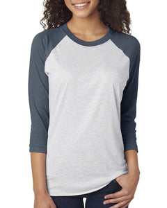 Next Level Unisex Triblend 3/4 Sleeve Raglan 6051 IND/ HTHR WHITE