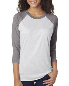 Next Level Unisex Triblend 3/4 Sleeve Raglan 6051 PR HTHR/ HTR WHT