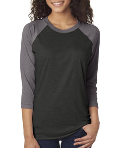 Next Level Unisex Triblend 3/4 Sleeve Raglan 6051 PR HTHR/ VIN BLK