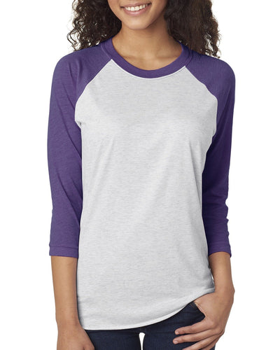 Next Level Unisex Triblend 3/4 Sleeve Raglan 6051 PUR RSH/ HTR WHT