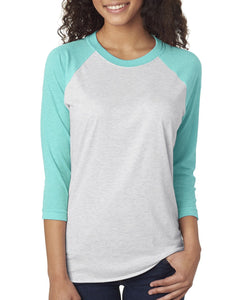 Next Level Unisex Triblend 3/4 Sleeve Raglan 6051 T BLUE/ HTHR WHT