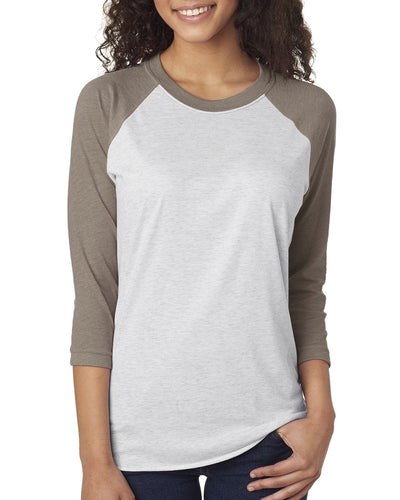 Next Level Unisex Triblend 3/4 Sleeve Raglan 6051 VIN GR/ HTHR WHT