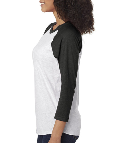 Next Level Unisex Triblend 3/4 Sleeve Raglan 6051 VIN BK/ HTHR WHT