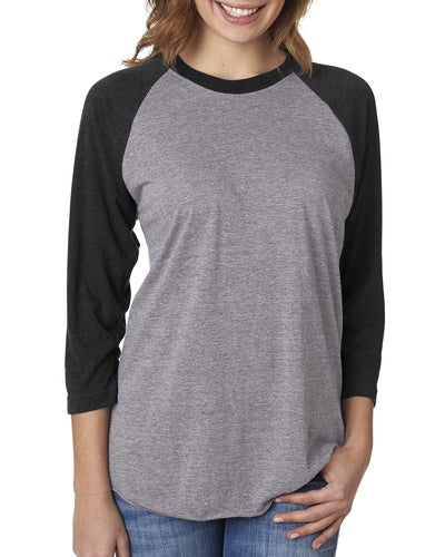 Next Level Unisex Triblend 3/4 Sleeve Raglan 6051 VIN BLK/ PR HTHR