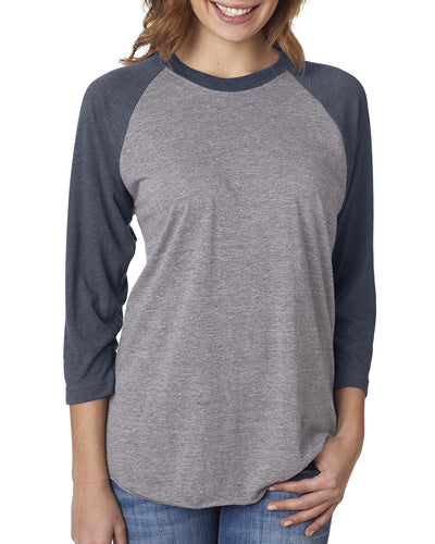 Next Level Unisex Triblend 3/4 Sleeve Raglan 6051 VIN NVY/ PR HTHR