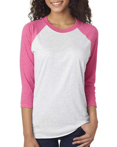 Next Level Unisex Triblend 3/4 Sleeve Raglan 6051 VT PINK/ HTR WHT